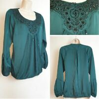 Wallis Emerald Green Black Bead Sequin Satin Boho Puff Sleeve Occasion Top 12