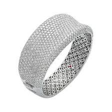 ROBERTO COIN STAMPED ORIGINAL BANGLE DIAMOND ROUND BRILLIANT PRONG SET DIAMOND