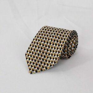 NEW TOM FORD Neck Tie 100% SILK Yellow Black Gray & White Stitch Design TFN133