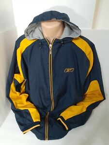 Reebok Blue and Yellow Windbreaker Hooded Jacket with Hoodie Size Large