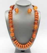 Multi Brown Lucite Bead wood bead Necklace Earring Set