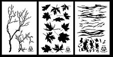 """3Pack! Spray Paint Camouflage Stencils 14""""  Tiger - Gnarly Branch - Leafy Maple"""