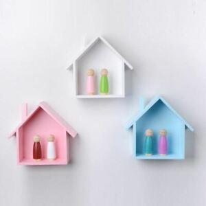 1 Pc Petite House Shape Display Hanging Shelving Wall Mounted Shelf Wooden Shape
