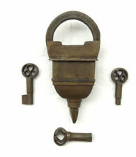 Vintage Old Antique Looking 3 Keys Tricky Puzzle System Iron Lock Rich Patina M