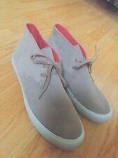 Hollister Para Hombre Talla 8.5 Totalmente Nuevo Luz Gris Beis Imitación Suade alta Top zapatos