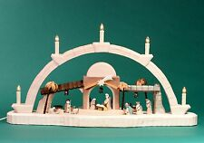 Candle Arches Carved Nativity Brown 36CM Chandelier Bow Erzgebirge NEW
