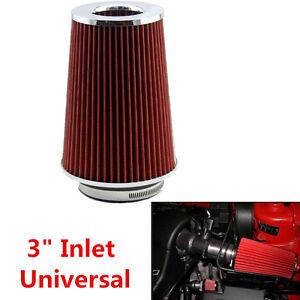 "Universal 3"" Inlet Car Long Ram Cold Air Intake Filter Cone Filter Performance"