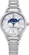 Alexander Monarch Vassilis Moon Phase MOP Women Swiss Quartz SS Watch A204B-01