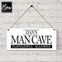 036 WOODEN MAN CAVE SIGN PERSONALISED DADS DEN SHED PLAQUE UNIQUE FATHERS DAY