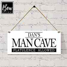 036 DADS MAN CAVE WOODEN PERSONALISED PLAQUE SHED DEN GARAGE MAN CAVE SIGN