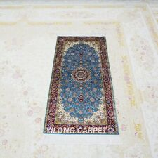 YILONG 2'x4' Blue Handknotted Silk Carpet Home Kid Friendly Area Rug TJ145A