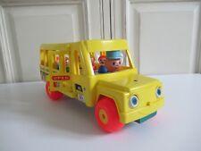 ♥ Ancien Bus School Réf: 192 Fisher Price Jaune Année 1965 Vintage