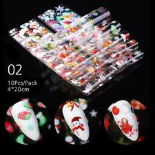 10Sheets/Set Christmas Nail Foil Stickers Snowflakes Flower Decals Decoration #2