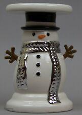 Christmas Bath Body Works Snowman Candle Holder Pillar Ceramic Pedestal NWT