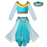 Child Aladdin Princess Costume Jasmine Outfit Girls Fancy Dress Fairytale 3PCS