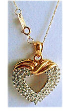 "HEART DIAMOND PENDANT 10K GOLD .75TCW Rd DIAMOND 1.25 INCH DROP  with 18""Ch NEW!"