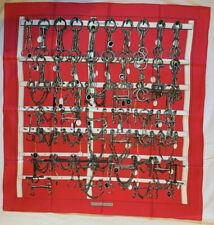 HERMES Mors & Filets by F. Heron 1966 VINTAGE Rosa Carré SETA Foulard Scarf et 2