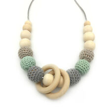 Crochet Wood Teething Beads Necklace Natural Wooden Ring Baby Jewelry Teether