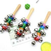 Baby Kids Wooden 10 Bells Jingle Stick Shaker Sensory Crying Rattle S1X7