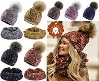 Womens Ladies Beanie Pom Pom Warm Winter Natural Wool Alpaca Lining Micropolar
