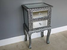 Mirrored Vintage Style Bedside Lamp Table Shabby French Chic Bedroom Furniture