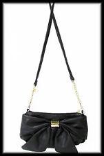 BETSEY JOHNSON Small Black Handbag with Large Bow and Crossbody Strap