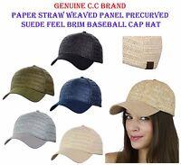 C.C Brand Paper Straw Weaved Panel Precurved Suede Feel Brim Baseball CC Cap Hat