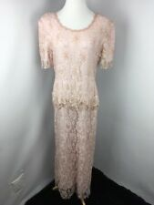 VTG Scala MOB Sequin Beaded MOB Wedding  Dress Blush SS Floral Beaded SILK XL