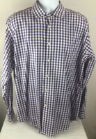 Jack Stone By Thomas Dean Mens Button Front Shirt Purple Gingham Long Sleeve XL