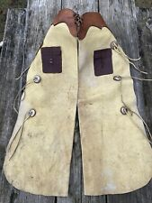 Used /vintage full grain leather Western work chaps w/snap closure Us made