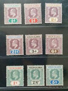 BRITISH VIRGIN ISLANDS 1904 KE VII 1/2d to 5s SG 54 - 62 Sc 29 - 37 set 9 MLH