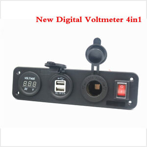4 in 1 New Digital Voltmeter +12V Power Socket +Dual USB Power Charger Adapter