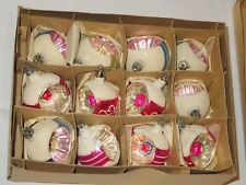 Vintage Christmas Tree Ornament Lot 12 Indent Feather Tree Hand Painted (P896)