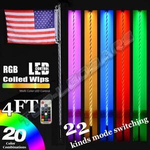 2pc 4ft Lighted Spiral LED Whip Antenna w/Flag & Remote for ATV Polaris RZR UTV