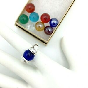 INTERCHANGEABLE STONE sterling silver ring - size 5 w/ 9 multicolor glass marble