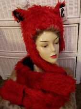 Red Fox Faux Fur Hood Scarf Built in Gloves Halloween costume Women Teen Boy