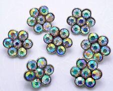 "Lot 8 ~ 1/2"" Sparkling AB Rainbow Crystal/Rhinestone Silver Sewing Buttons N056"