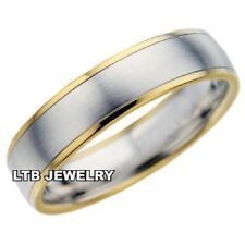 MENS WOMENS 10K TWO TONE SOLID GOLD WEDDING BANDS,SATIN FINISH 6MM WEDDING RINGS