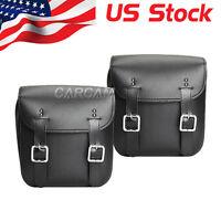 2x PU Leather Side Saddle Bags Fit Yamaha Virago XV 250 500 535 700 750 920 1100