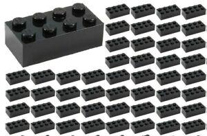 ☀️50x NEW LEGO 2x4 BLACK Bricks (ID 3001) BULK Parts star wars Starwars lot