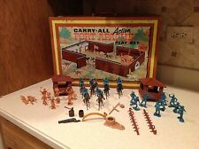Vintage Marx Fort Apache Play Set W/ Figures Horses & Access. 1968 RARE Carry Al