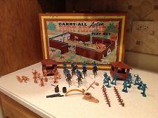 Vintage Marx Fort Apache Play Set W/ Figures Horses & Access. 1968 RARE Carry Al
