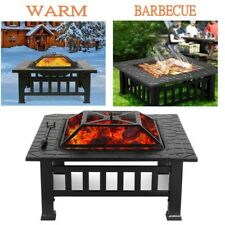 """32"""" Outdoor Fire pit Grill Stove Heater Patio Fire Pit Metal Table Bbq Garden"""