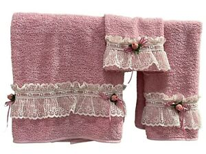 VTG Lady Pepperell bath hand towel set washcloth pink lace roses retro prop