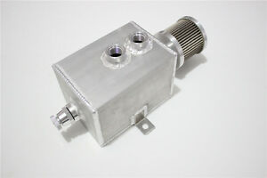 2L ALUMINUM  oil catch tank with breather & drain tap natural finish 2lt