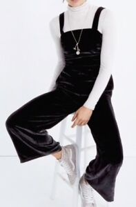 NEW Madewell $158 crushed velvet wide-leg jumpsuit Size12 H1980 Black