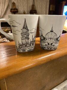 2-222 FIFTH City Scenes Venice Black & White Tall Coffee Latte Mug Porcelain Cup