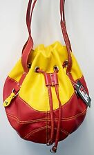 NEW r25 Faux Leather Red/Gold BASKETBALL Purse Shoulder Bag Sport Drawstring