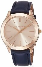 Michael Kors Women's Slim Runway Rose Gold-Tone Blue Leather Watch MK2466