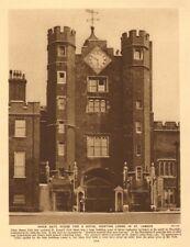 Brick gate house, St James's Palace. A Royal hunting lodge 1926 old print